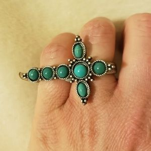 Double Knuckle Turquoise Cross Ring
